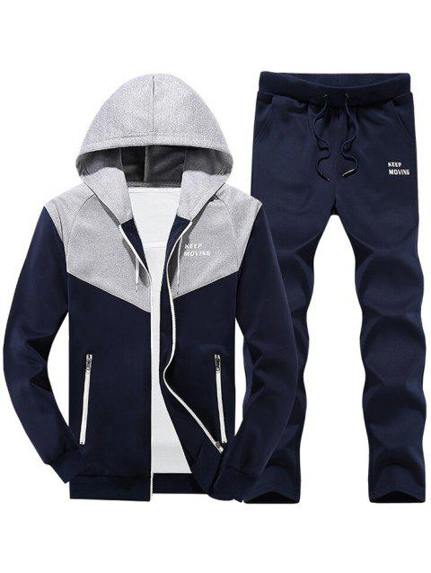 Colorblock Zipper Hooded Fleece Jacket Pants Sports Suit - DEEP BLUE L