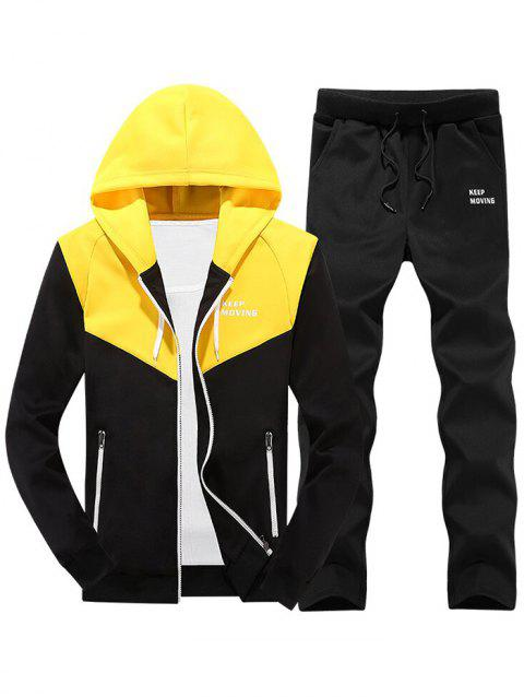 Colorblock Zipper Hooded Fleece Jacket Pants Sports Suit - YELLOW M