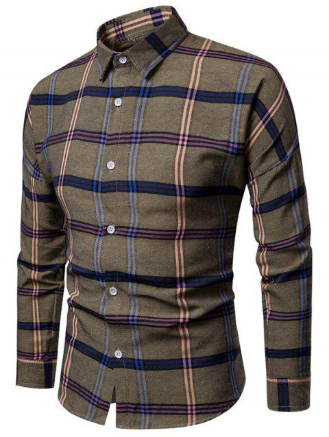 Casual Button Up Plaid Print Long Sleeve Shirt - COFFEE S