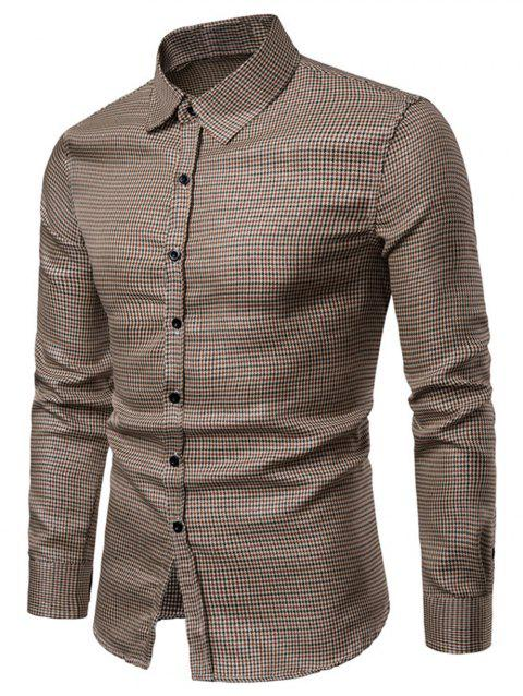 Checked Print Bling Button Up Long Sleeve Shirt - COFFEE XS