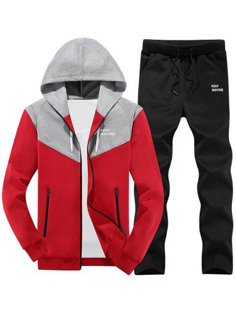 Colorblock Zipper Hooded Fleece Jacket Pantalon de sport - Rouge M