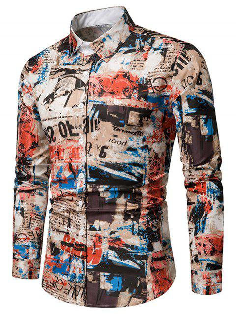Long Sleeves Letters Vintage Print Casual Shirt - multicolor 3XL