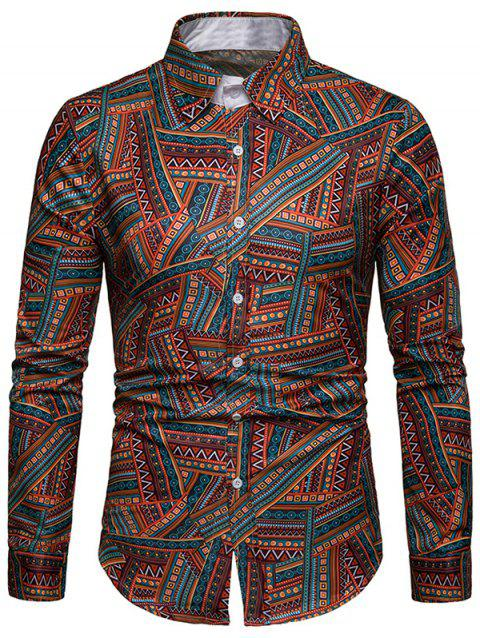 EthnicTribal Print Long Sleeves Casual Shirt - multicolor 2XL