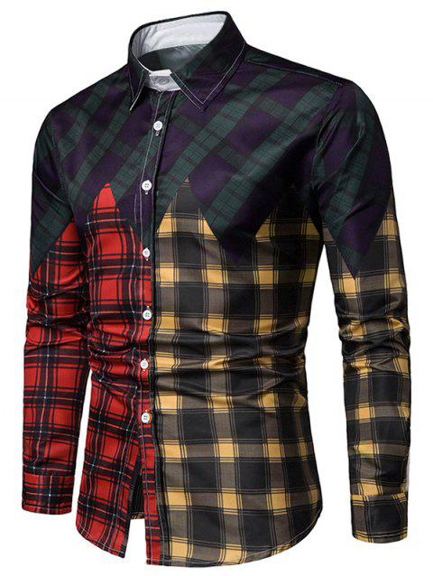 Long Sleeves Checkered Print Panel Casual Shirt - multicolor M