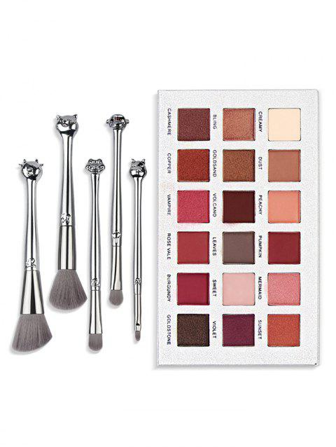 18 Color Eyeshadow Palette With Brushes Set - SILVER