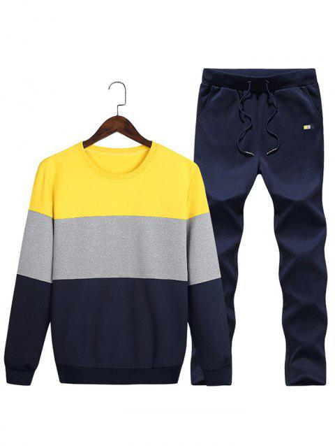 Layered Colorblock Fleece Sweatshirt Pants Sports Suit - YELLOW M