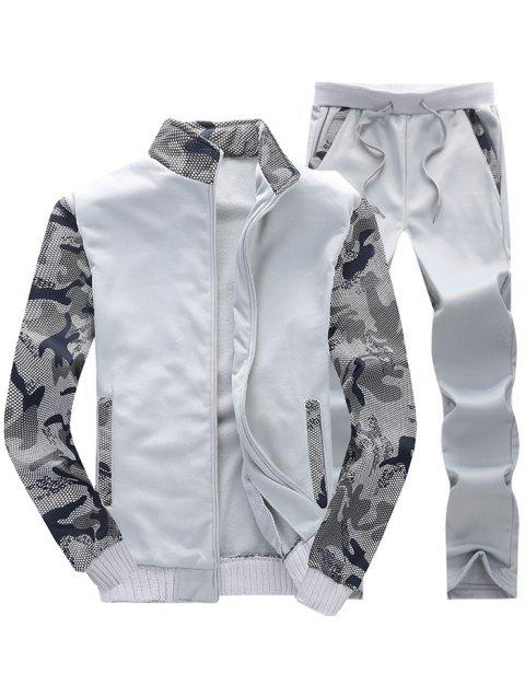 Camo Mesh Print Fleece Jacket Pants Sports Suit - LIGHT GRAY XS