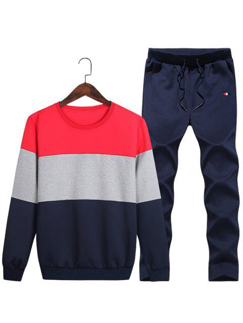 Layered Colorblock Fleece Sweatshirt Pants Sports Suit - RED XS
