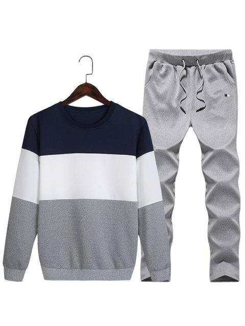 Layered Colorblock Fleece Sweatshirt Pants Sports Suit - DEEP BLUE S