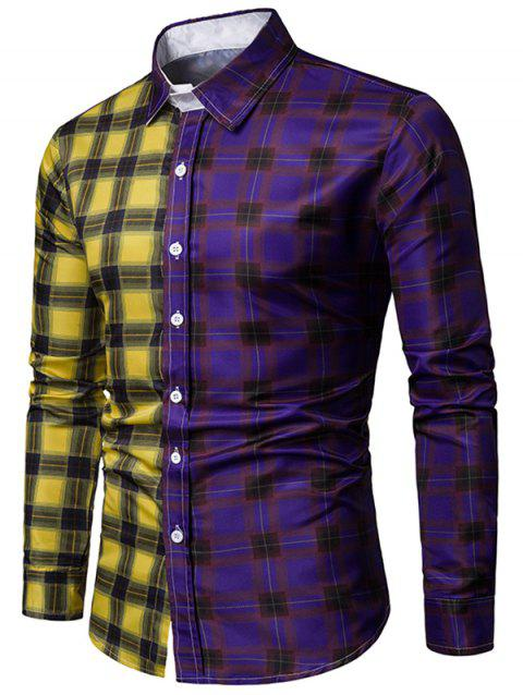 Color Block Plaid Print Long Sleeves Shirt - PURPLE XL