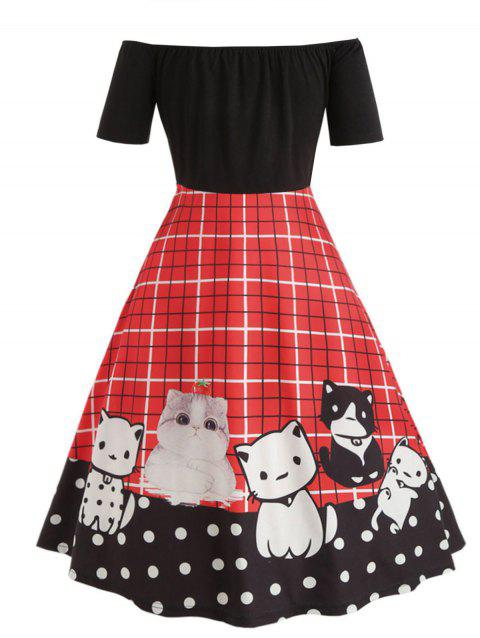565aa3b2564 17% OFF  2019 Off The Shoulder Plus Size Cat Pattern Vintage Dress ...