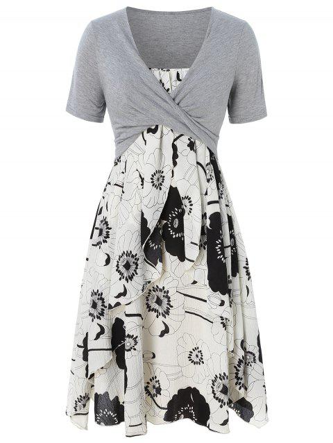 f7c44efca81ae Plus Size Floral Print Layered Cami Dress With Criss Cross Crop Top - GRAY L
