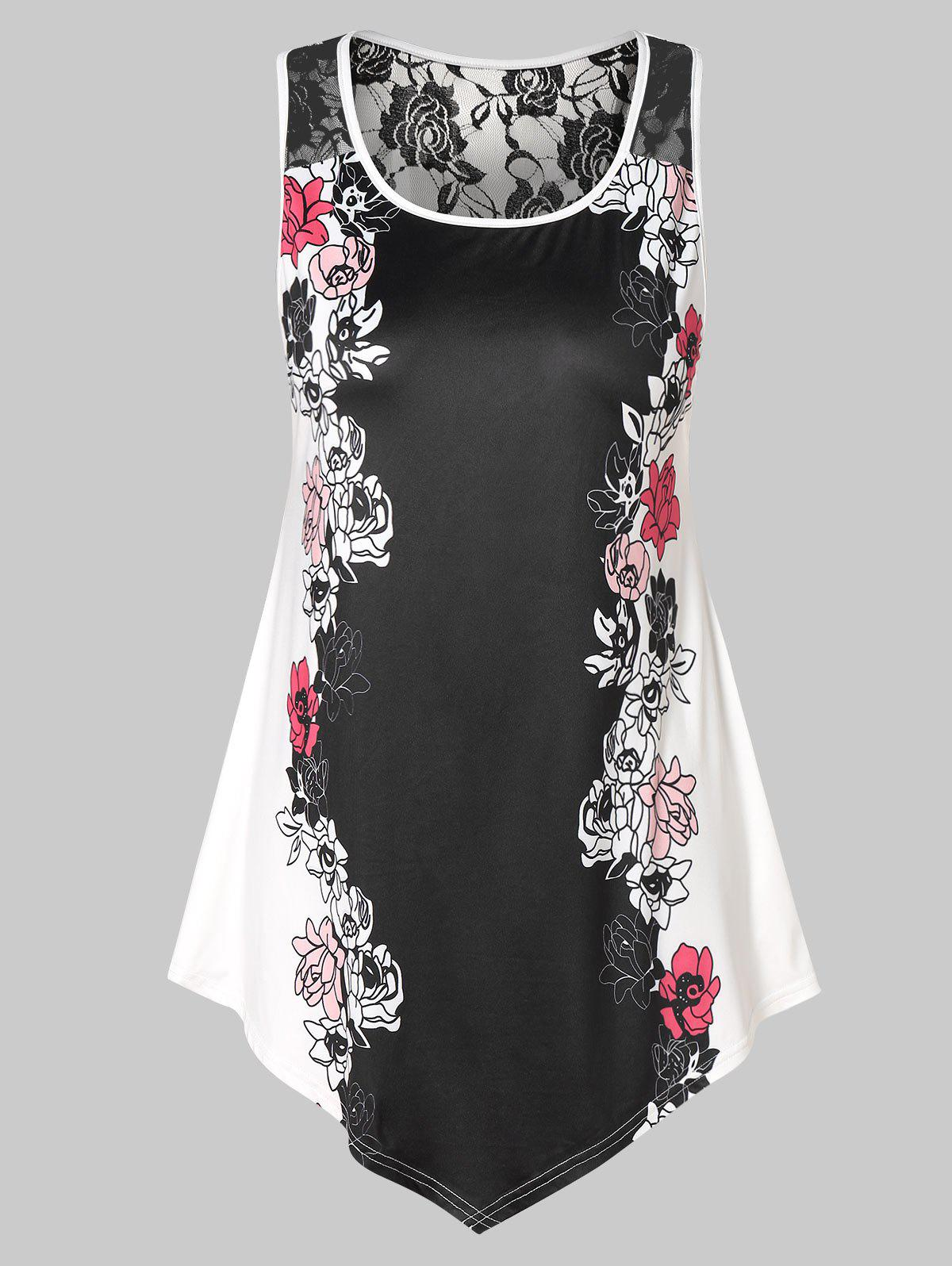 Plus Size Lace Panel Floral Tank Top - multicolor 3X