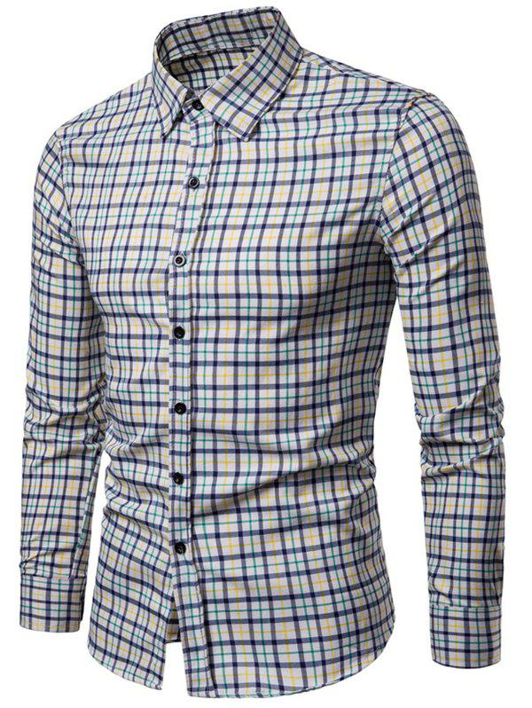 Long Sleeve Plaid Printed Button Up Casual Shirt - YELLOW XS