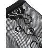 Rhinestone Flower Fishnet Leggings - BLACK ONE SIZE