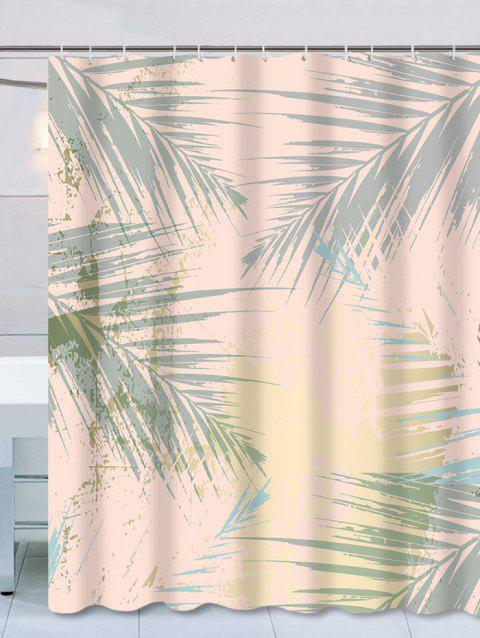 Waterproof Palm Leaves Print Thicken Shower Curtain - ORANGE PINK W59 X L71 INCH