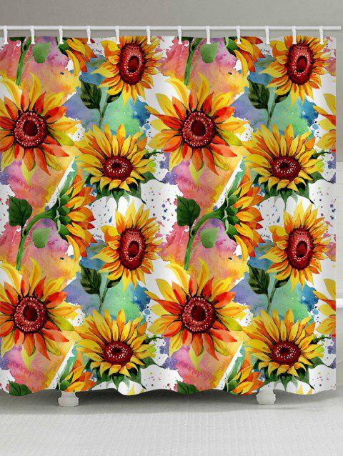 Sunflower Painting Print Waterproof Bathroom Shower Curtain - SUN YELLOW W71 X L79 INCH