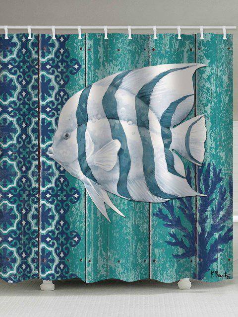 Wood Grain Fish Print Waterproof Bathroom Shower Curtain - BLUE KOI W59 X L71 INCH
