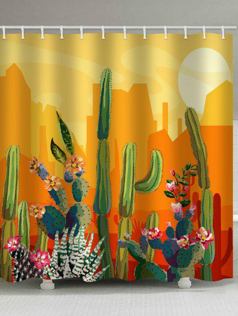 Sunset Cactus Print Waterproof Bathroom Shower Curtain - BRIGHT YELLOW W71 X L71 INCH