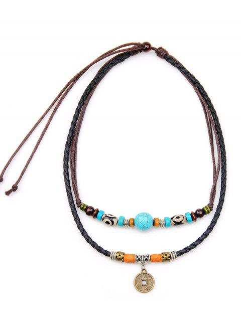 Two Layered Turquoise Coin Rope Necklace - BLACK