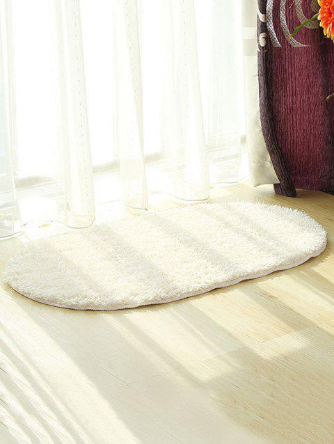 Fluffy Soft Oval Throw Rug - WHITE