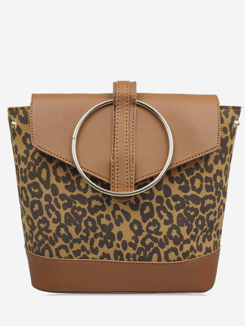 Leopard Pattern Metal Ring Cover Backpack - BROWN
