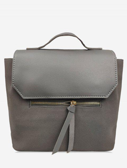 Leather Student Solid Backpack - GRAY