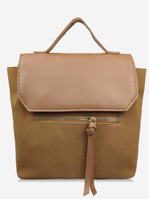 Leather Student Solid Backpack - BROWN