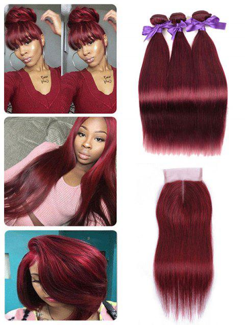 Brazilian Virgin Human Hair Straight Hair Weaves with Middle Part Lace Closure - RED WINE 22INCH X 24INCH X 26INCH X CLOSURE 18INCH