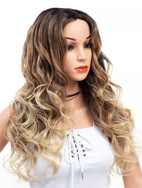 Long Center Parting Wavy Colormix Capless Synthetic Wig - multicolor