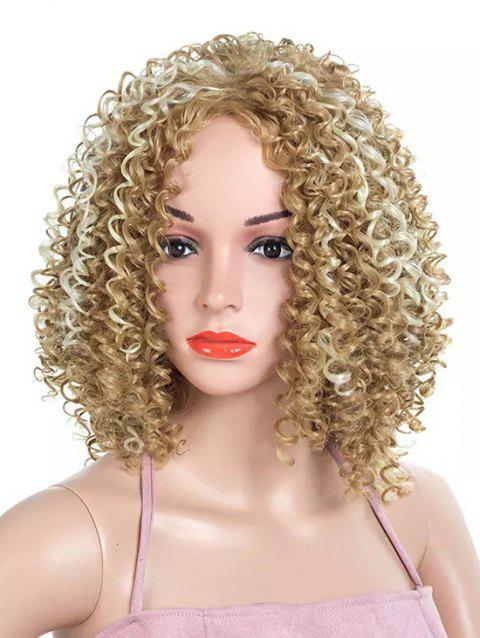 Medium Side Bang Colormix Kinky Curly Party Synthetic Wig - multicolor
