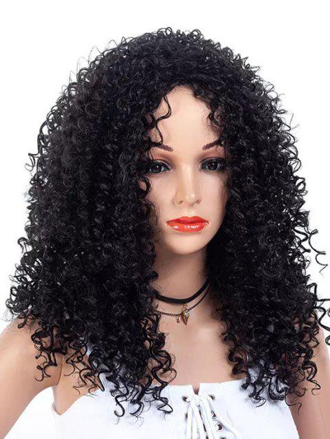 Inclined Bang Long Fluffy Kinky Curly Synthetic Wig - NATURAL BLACK