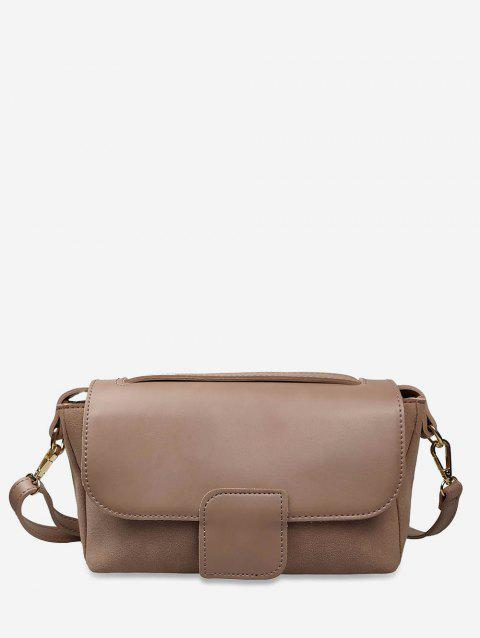 Rectangle Leather Joint Shoulder Bag - KHAKI ROSE