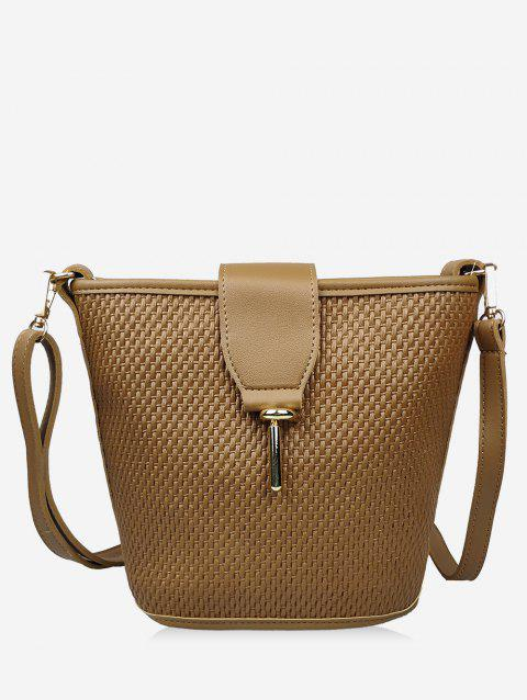 Bamboo Fiber Knitted Bucket Shoulder Bag - BROWN