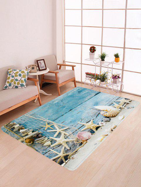 Wood and Starfish Print Floor Mat - LIGHT SKY BLUE W47 X L63 INCH