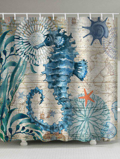 Nautical Sea Horse Print Waterproof Bathroom Shower Curtain - MACAW BLUE GREEN W59 X L71 INCH