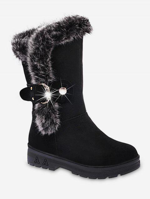 Faux Fur Trim Buckle Mid Calf Boots - BLACK EU 36