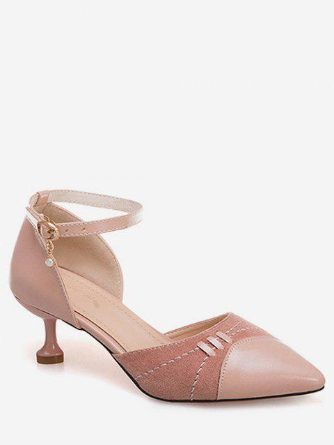 Pointed Toe Ankle Strap Pumps - PINK EU 38