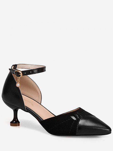 Pointed Toe Ankle Strap Pumps - BLACK EU 36
