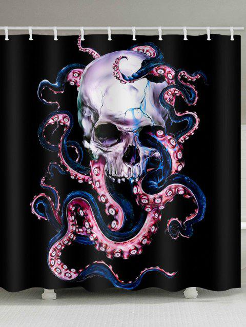 Skull Octopus Print Shower Curtain - BLACK W59 X L71 INCH