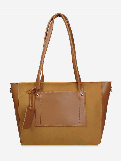 Simple Style Joint Shoulder Bag - BROWN