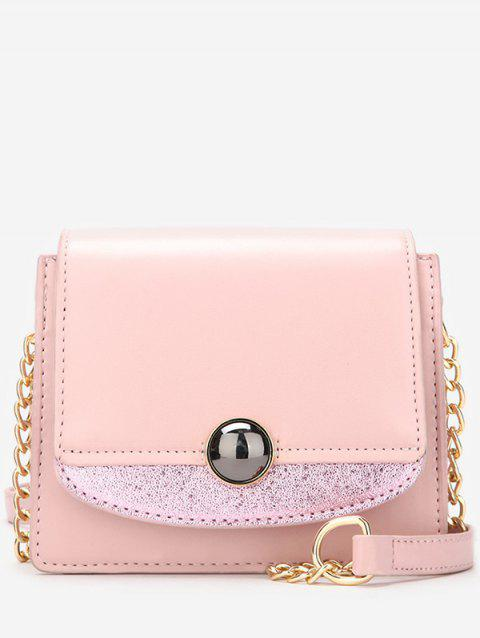 Leather Small Chain Shoulder Bag - LIGHT PINK