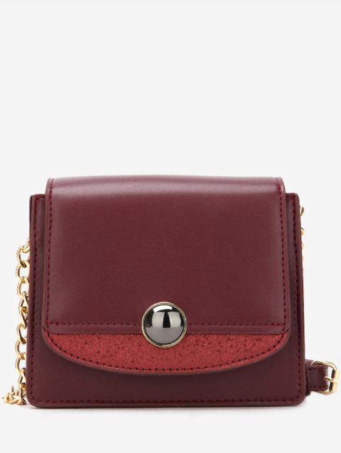 Leather Small Chain Shoulder Bag - RED WINE