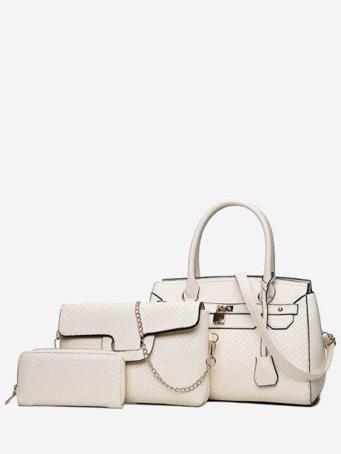 Leather Glossy Handbag Shoulder Bag Set - WARM WHITE