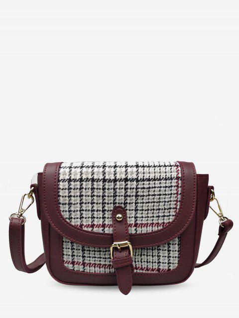 Joint Leather Small Shoulder Bag - RED WINE