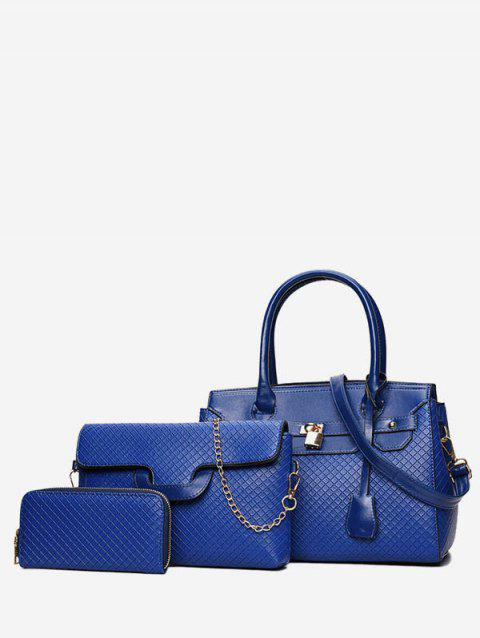 Leather Glossy Handbag Shoulder Bag Set - BLUE
