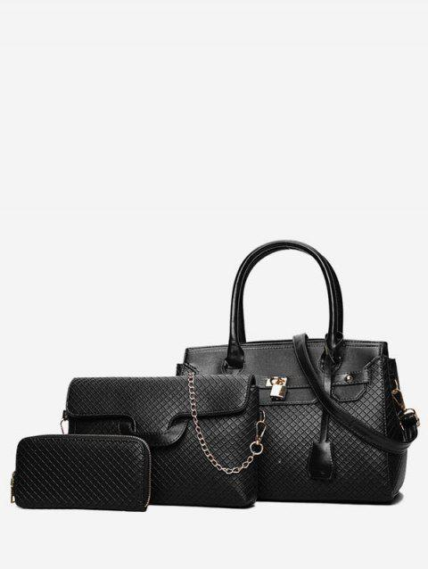Leather Glossy Handbag Shoulder Bag Set - BLACK
