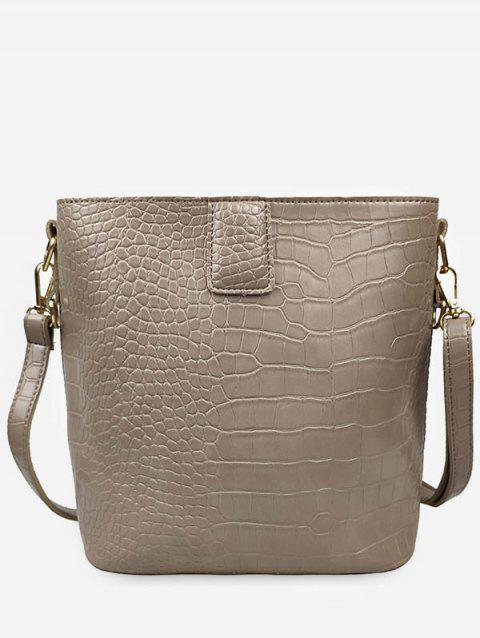 Retro Faux Leather Square Shoulder Bag - KHAKI