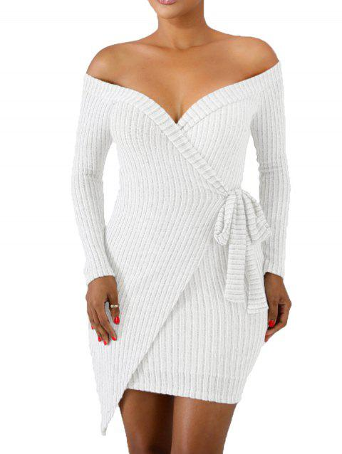 Tie Side Crossover Ribbed Knit Mini Dress - WHITE L