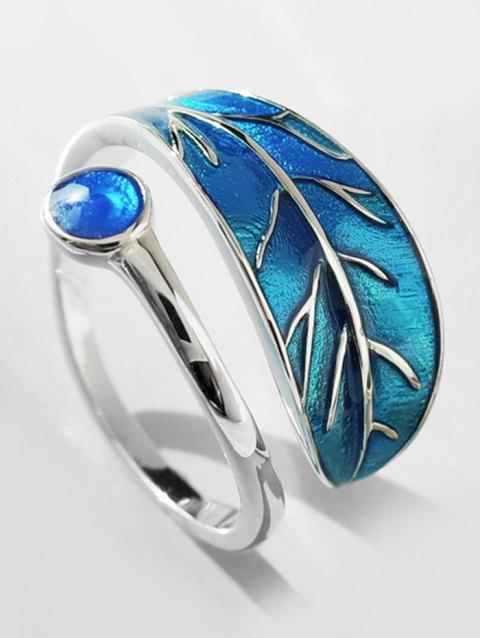 Personalized Artificial Sapphire Ring Of Leaf - DEEP SKY BLUE